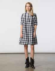 Ellen Dress - Black & White Buffalo Gingham
