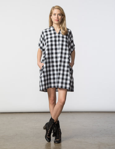 Mary Dress - Black & White Buffalo Gingham