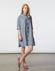 Stacey Dress - Blue/White Herringbone