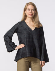 Pamela Top - Black Woven Silk