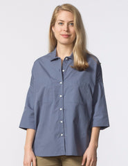 Stephanie Top - Pewter Poplin