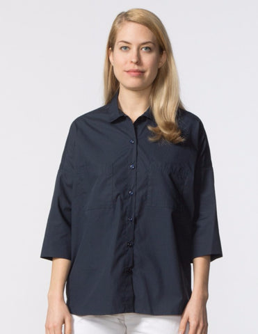 Stephanie Top - Navy Poplin