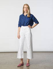 Stephanie Top - Blue & Black Check