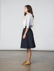 Alex Skirt - Navy Poplin