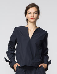 Jess Top - Navy Poplin