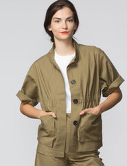 Kim Jacket - Army Green Canvas