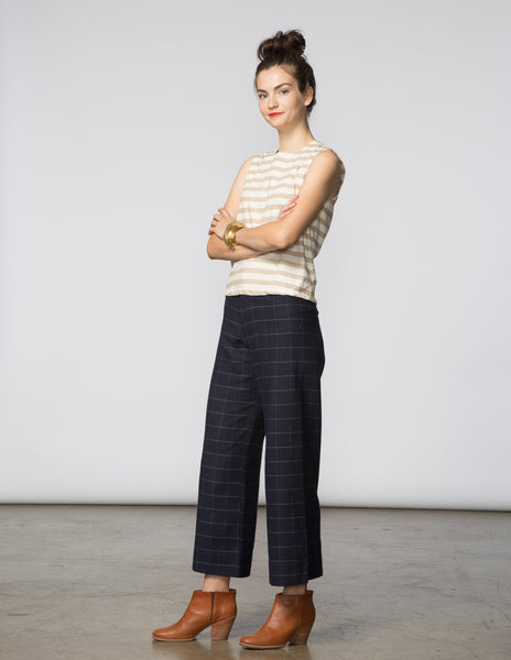 Angela Pant - Navy Woven Window Pane