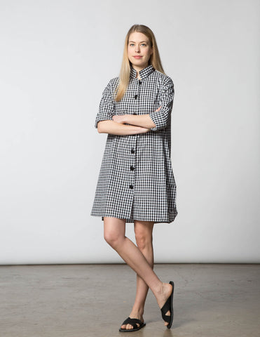 Stacey Dress - Black & White Gingham Check