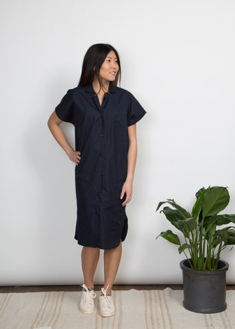Cindy Dress - Textured Indigo