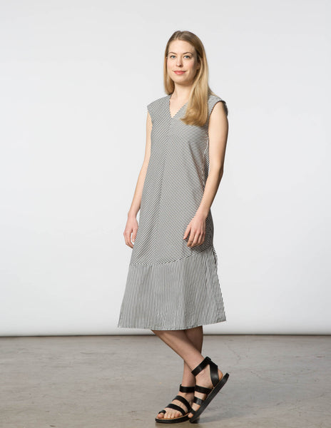 Winny Dress - Black & White Stripe