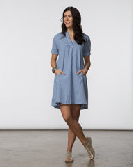 Dana Dress - Blue & White Check