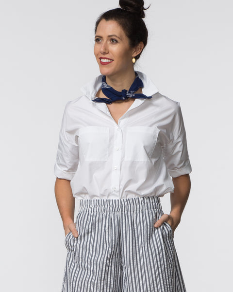 Stephanie Top - White Poplin