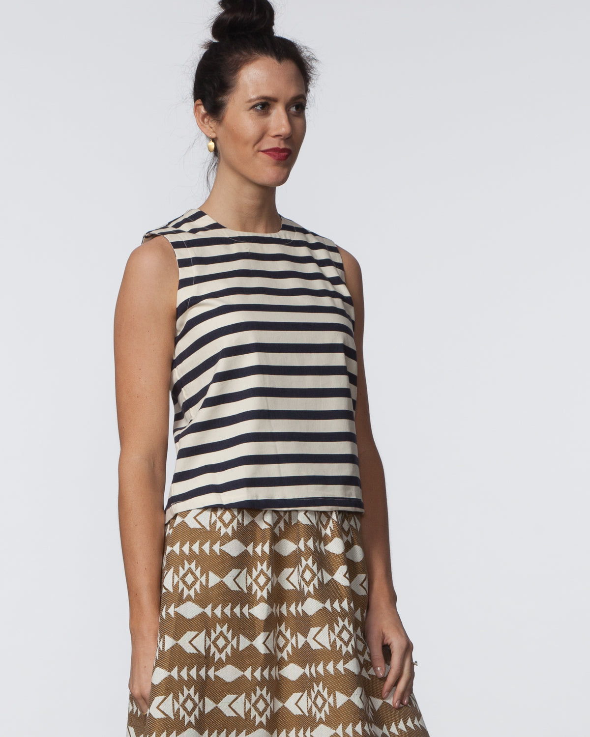 Kaya Top - Navy & Cream Stripe