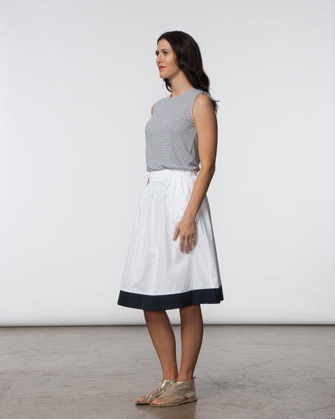 Alex Skirt - White with Navy Single Stripe