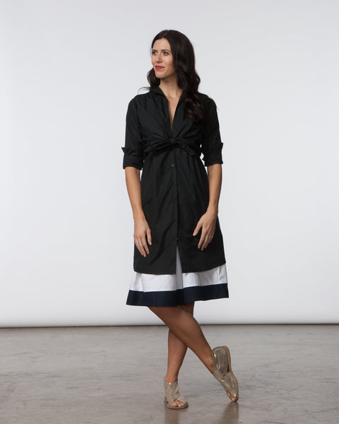 Lauri Dress - Black Poplin