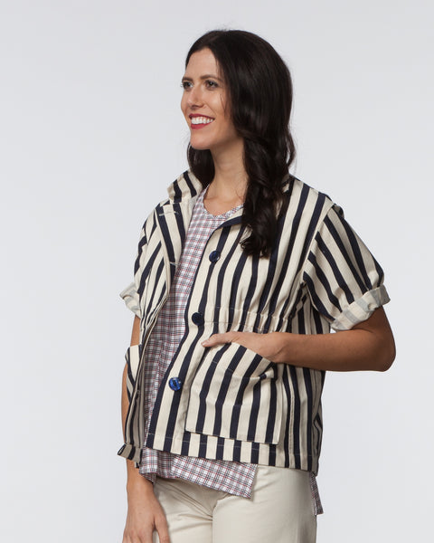 Kim Jacket - Blue & Cream Stripe
