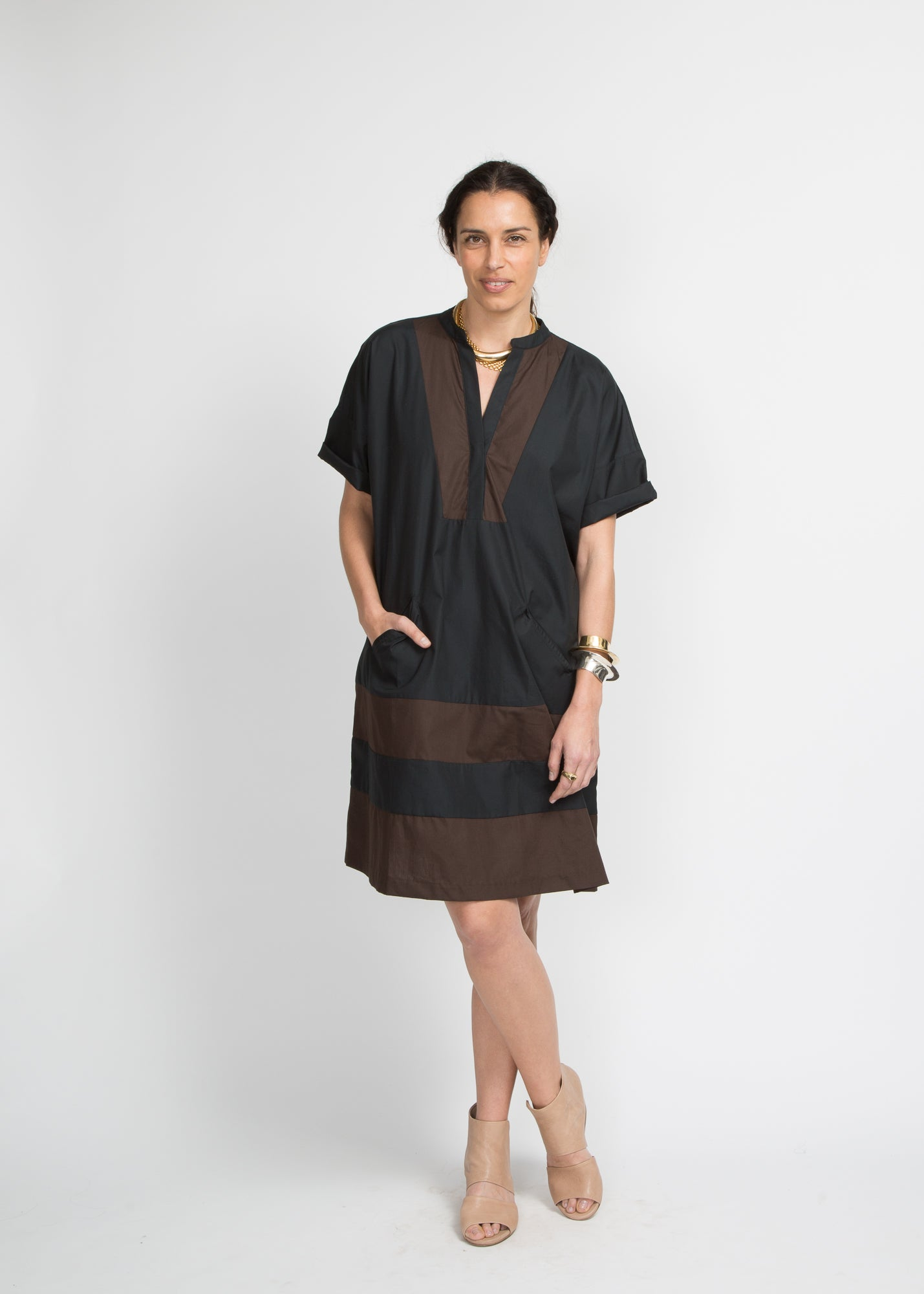 Cindy Dress - Black & Brown Poplin