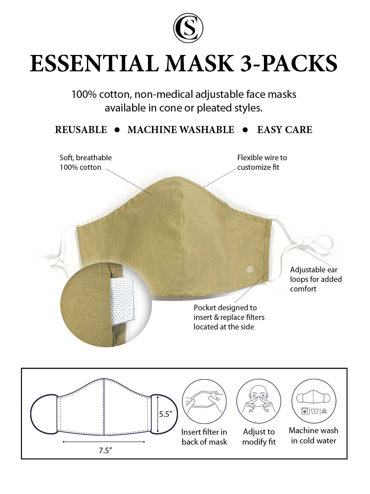 Essential Cone Face Mask 3 Pack-Khaki