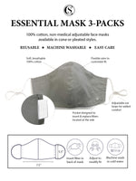 Essential Cone Face Mask 3 Pack-Grey Solids