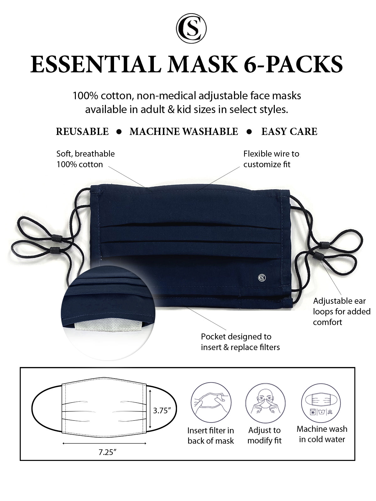 Essential Pleated Adult Face Mask 6 Pack-Americana