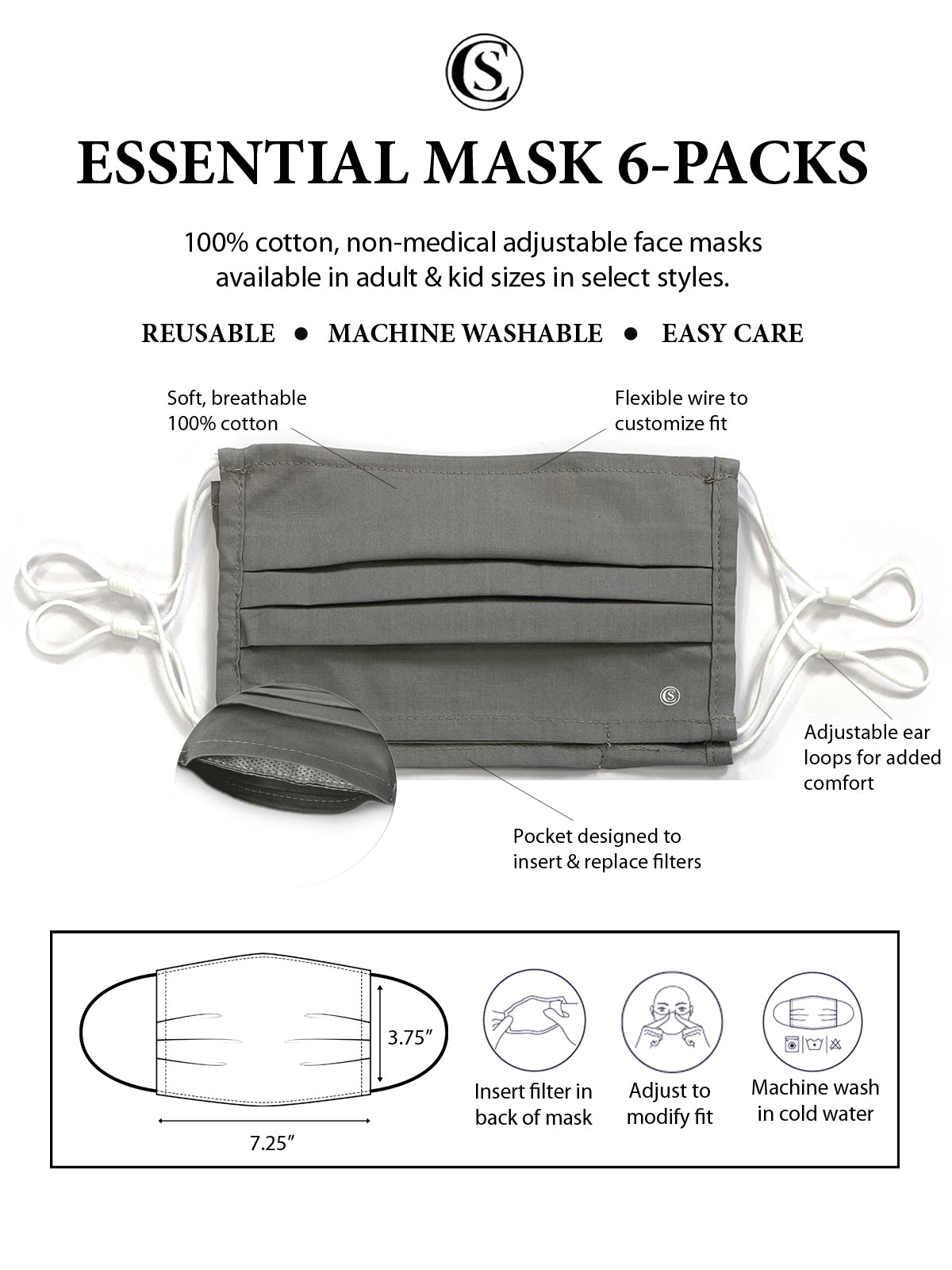 Essential Pleated Adult Face Mask 6 Pack-Grey Solids