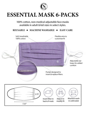 Essential Pleated Adult Face Mask 6 Pack-Lilac