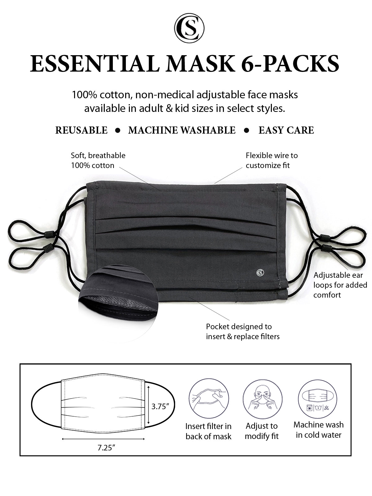 Essential Pleated Adult Face Mask 6 Pack-Charcoal 2