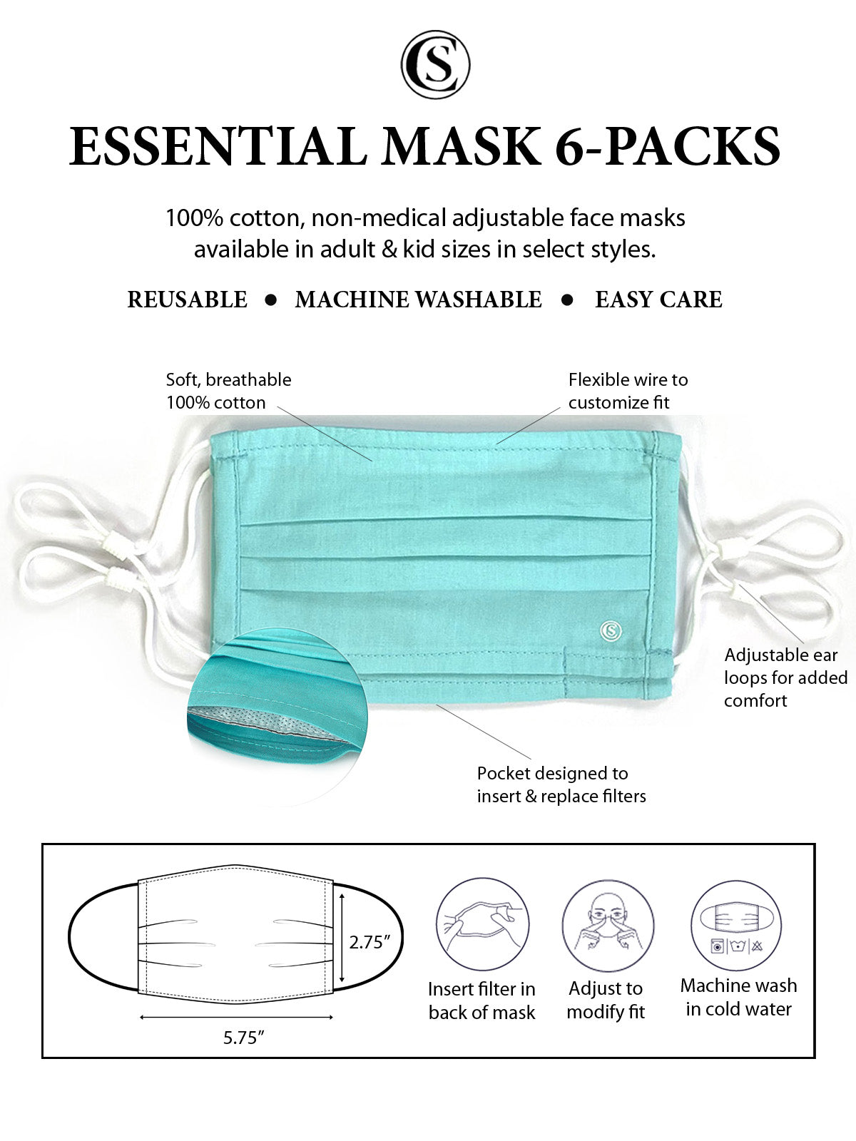 Essential Pleated Kids Face Mask 6 Pack-Aqua 1