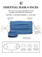 Essential Pleated Adult Face Mask 6 Pack-Solid Blue