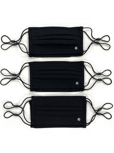 Essential Pleated Kids Face Mask 6 Pack-Black Solids