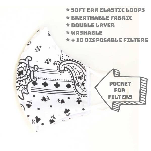 Face Mask with Filter - Bandana - White