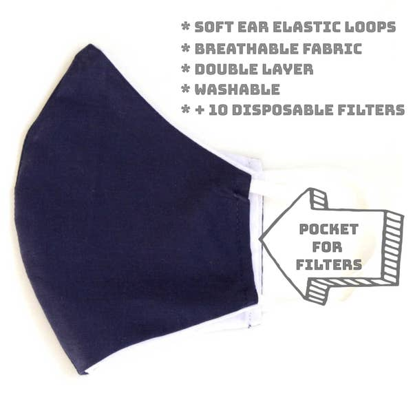 Face Mask with Filter - Navy