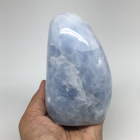 "834g,4.6""x2.8""x2.4"" Blue Calcite Polished Freeform Stands @Madagascar,MSP1002"