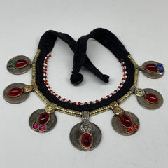Kuchi Choker Necklace Afghan Ethnic Turkmen Tribal Red Carnelian, Coins Choker C