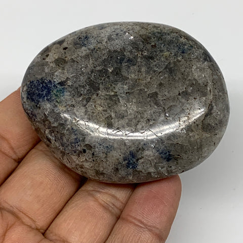 "106.7g, 2.4""x2""x0.9""Blue Quartz Palm-Stone Crystal Polished Reiki Energy,B3927"