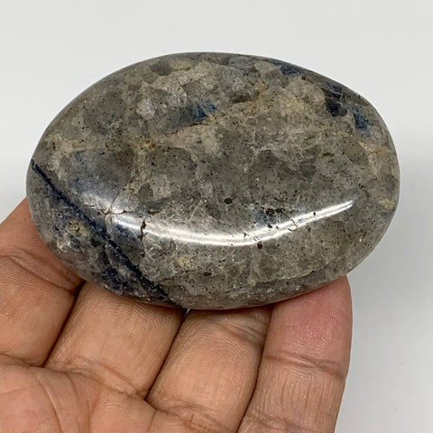 "103.3g, 2.6""x1.8""x0.9""Blue Quartz Palm-Stone Crystal Polished Reiki Energy,B3929"
