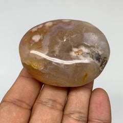 "92.9g, 2.3""x1.8""x1"" Natural Flower Agate Palm-Stone Reiki Energy Crystal,B2996"