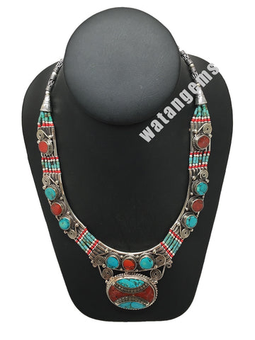 Ethnic Tribal Green Turquoise & Coral Inlay Boho Bib Statement Necklace, NPN05