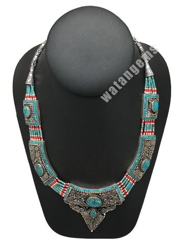 Ethnic Tribal Green Turquoise & Coral Inlay Boho Bib Statement Necklace, NPN03