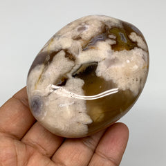 "199.3g, 3""x2.3""x1.2"" Natural Flower Agate Palm-Stone Reiki Energy Crystal,B2998"