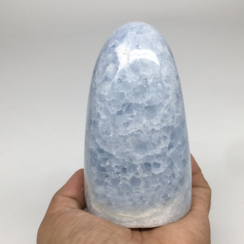 "792g,4.4""x2.6""x2.6"" Blue Calcite Polished Freeform Stand alone @Madagascar,MSP98"