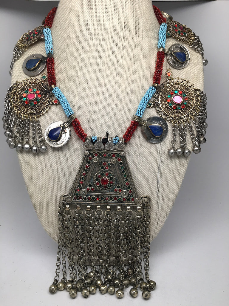 330 Grams Afghan Kuchi Jingle Coins Chain Bells Boho ATS Pendants Necklace,KC115 - watangem.com