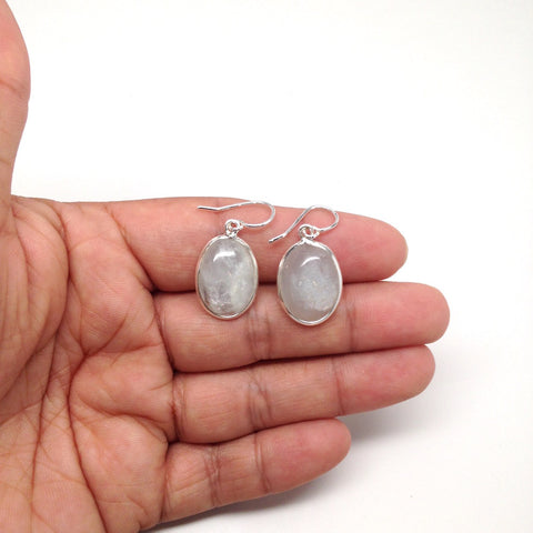 26.5 Cts Small Natural Aquamarine Cabochon Earrings Sterling Silver @Brazil, E11 - watangem.com