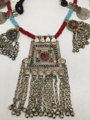 298 Grams Afghan Kuchi Jingle Coins Chain Bells Boho ATS Pendants Necklace,KC117