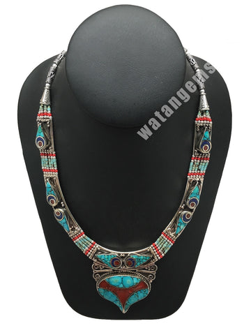 Ethnic Tribal Lapis,Red Coral & Green Turquoise Inlay Statement Necklace, NPL146