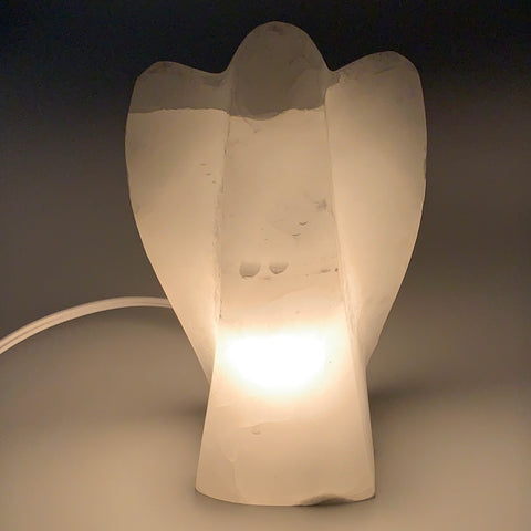 "1134g, 6.75""x4.1""x2.5"" White Selenite (Satin Spar) Angel Lamps @Morocco,B9469"
