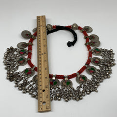 Big Kuchi Pendant Necklace Afghan Tribal Coins Jingle bells Beaded Necklace S09