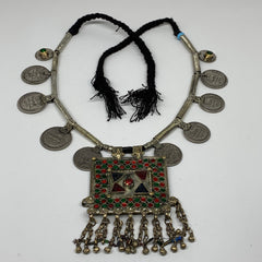 Kuchi Pendant Necklace Afghan Tribal Coins Necklace Bib Boho Handmade S10