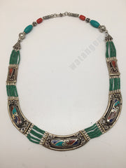 Ethnic Tribal Lapis, Red Coral & Green Turquoise Inlay Statement Necklace,NPN135