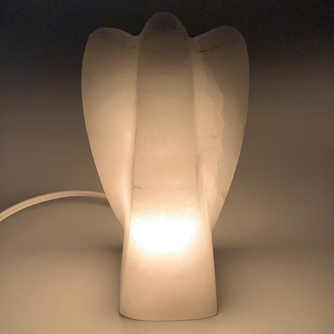 "1208g, 7""x3.6""x2.7"" White Selenite (Satin Spar) Angel Lamps @Morocco,B9471"